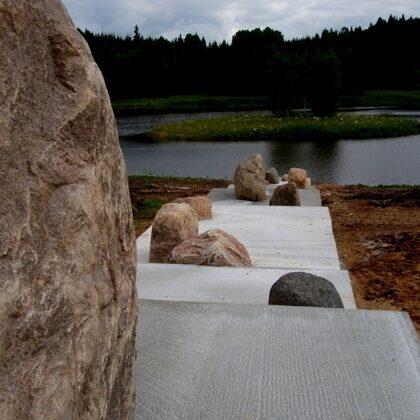 INFINITY. 2007. Field stones, concrete. 1500/50000/400cm. Gaiziņkalns surroundings